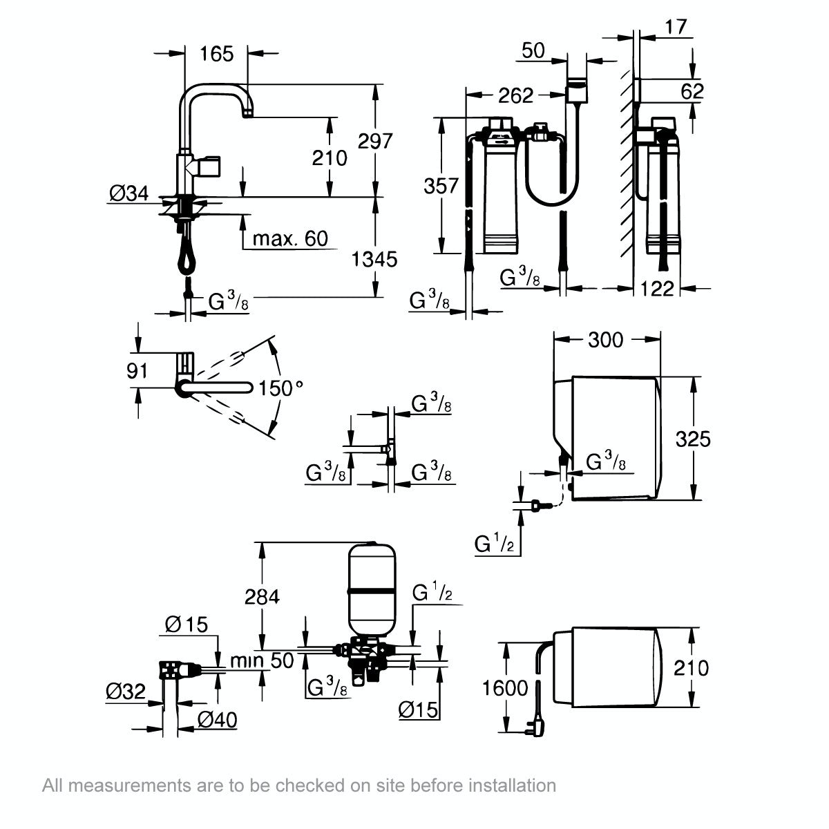 Dimensions for Grohe Red Mono U spout boiling water kitchen tap
