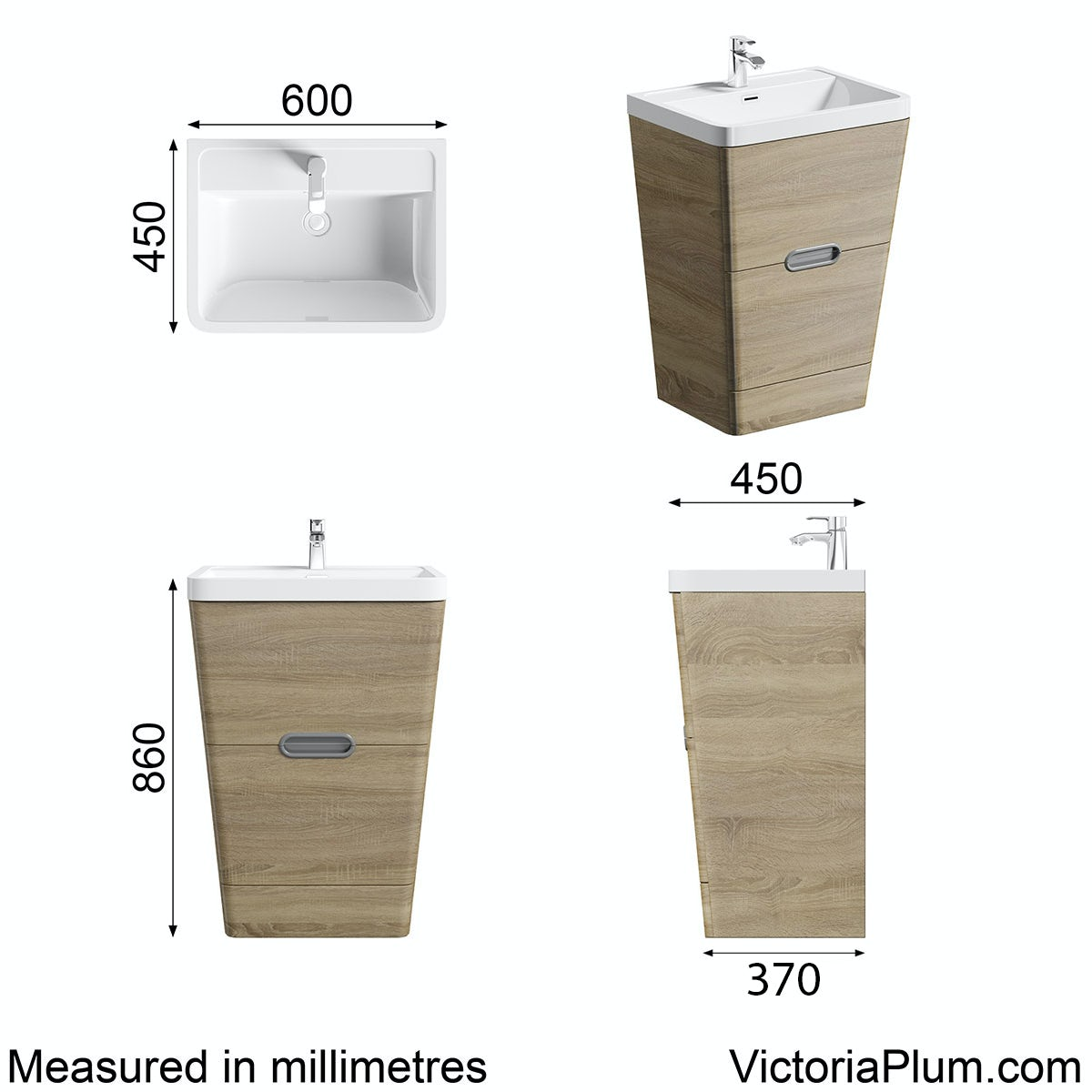 Dimensions for Mode Sherwood oak floor standing vanity unit and resin basin 600mm