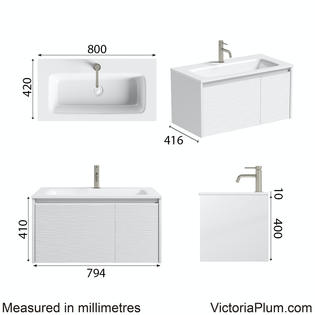 Dimensions for Mode Banks matt white wall hung vanity unit 800mm