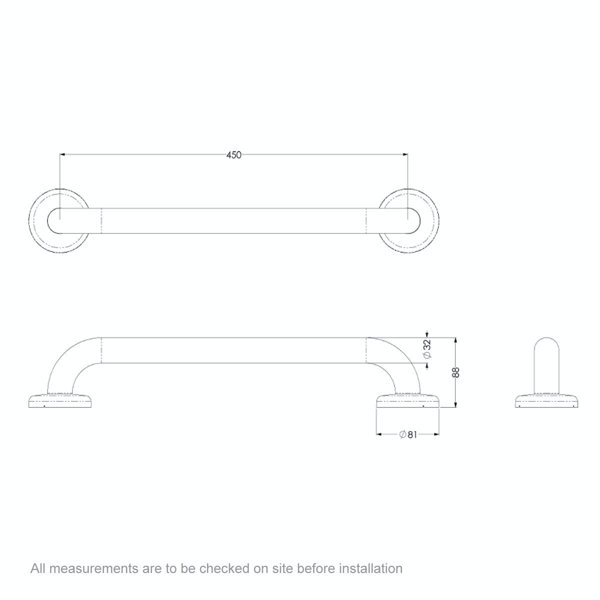 Dimensions for AKW Stainless steel grab rail 450mm