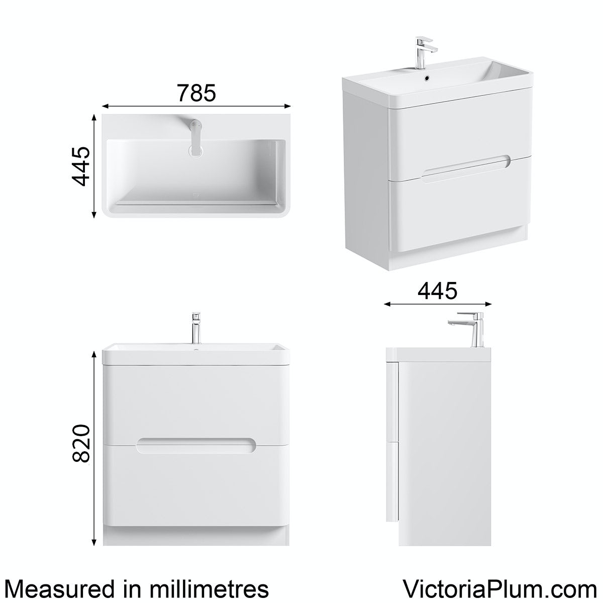 Dimensions for Mode Ellis white vanity drawer unit and basin 800mm