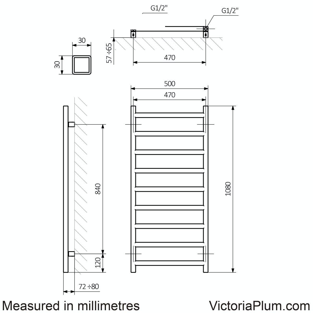 Dimensions for Terma Simple meteor black heated towel rail 1080 x 500