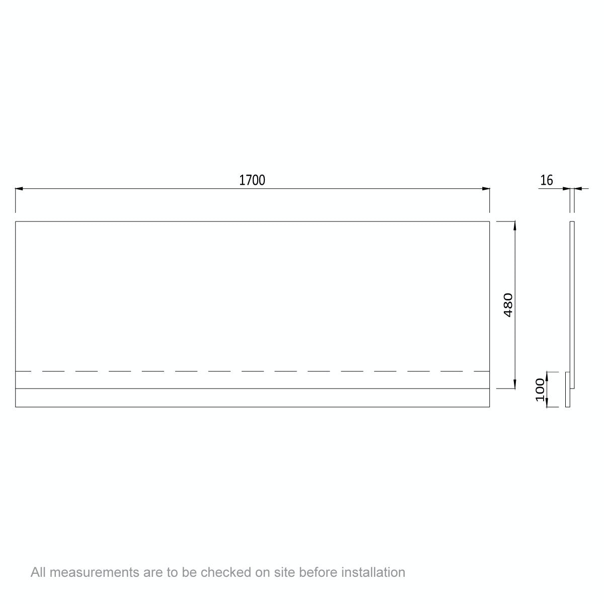 Dimensions for Orchard Wye oak bath front panel 1700mm