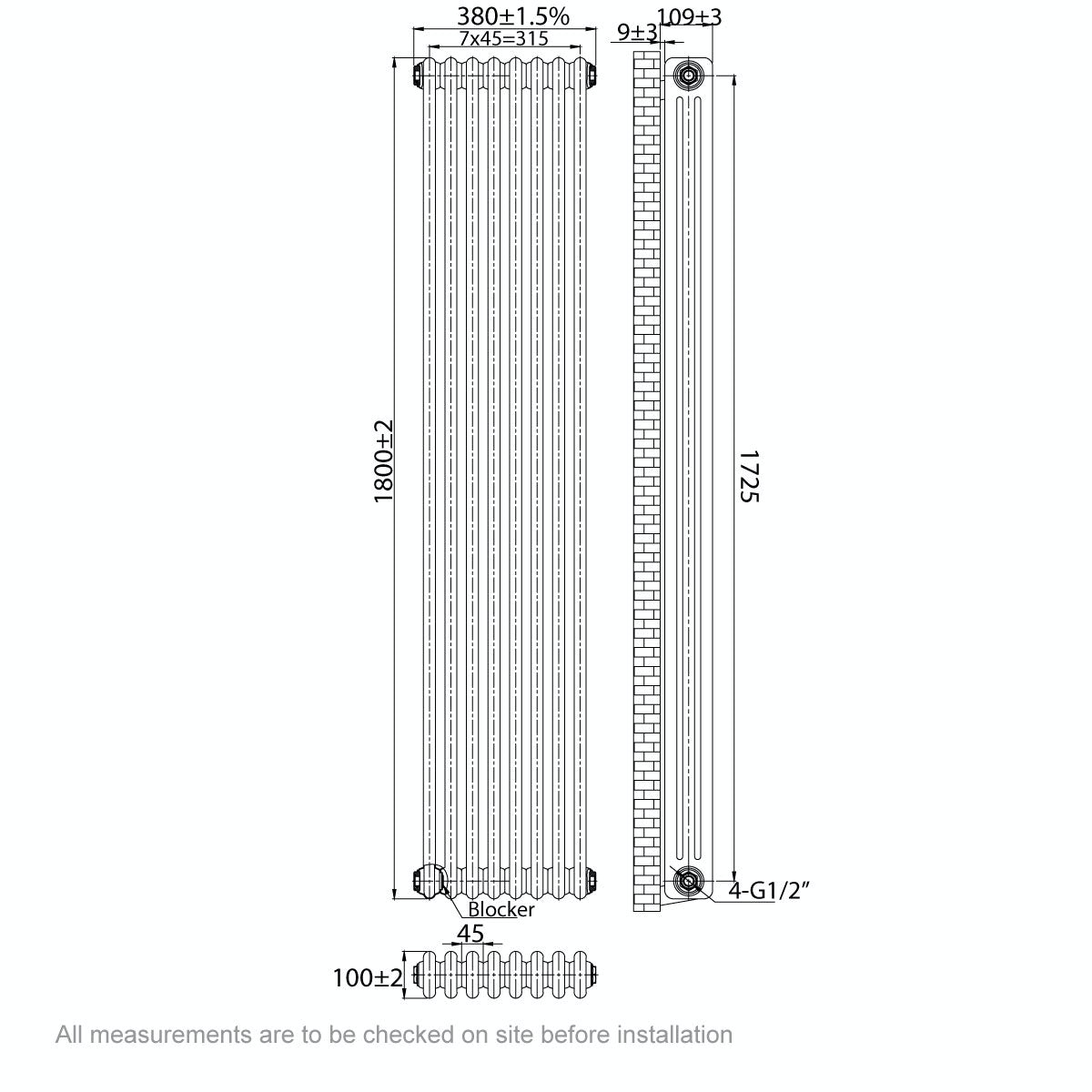 Dimensions for The Bath Co. Dulwich vertical white triple column radiator 1800 x 380