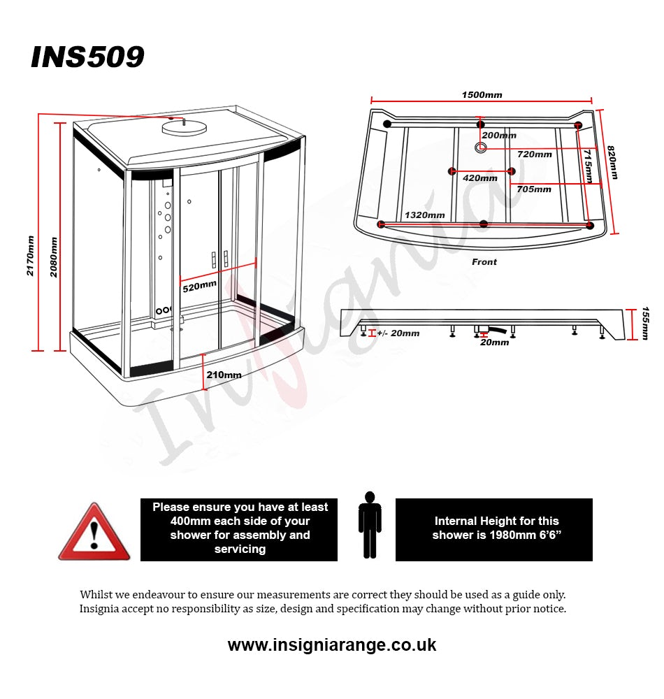 Dimensions for Insignia rectangular bow fronted steam shower cabin 1500 x 900