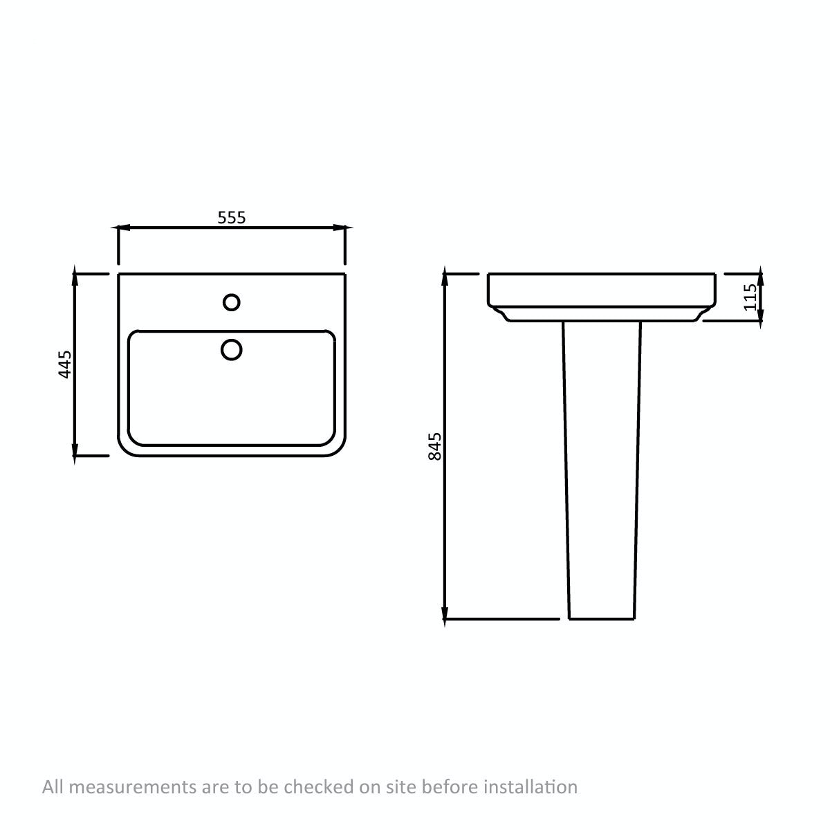 Dimensions for Mode Carter 1 tap hole full pedestal basin 550mm