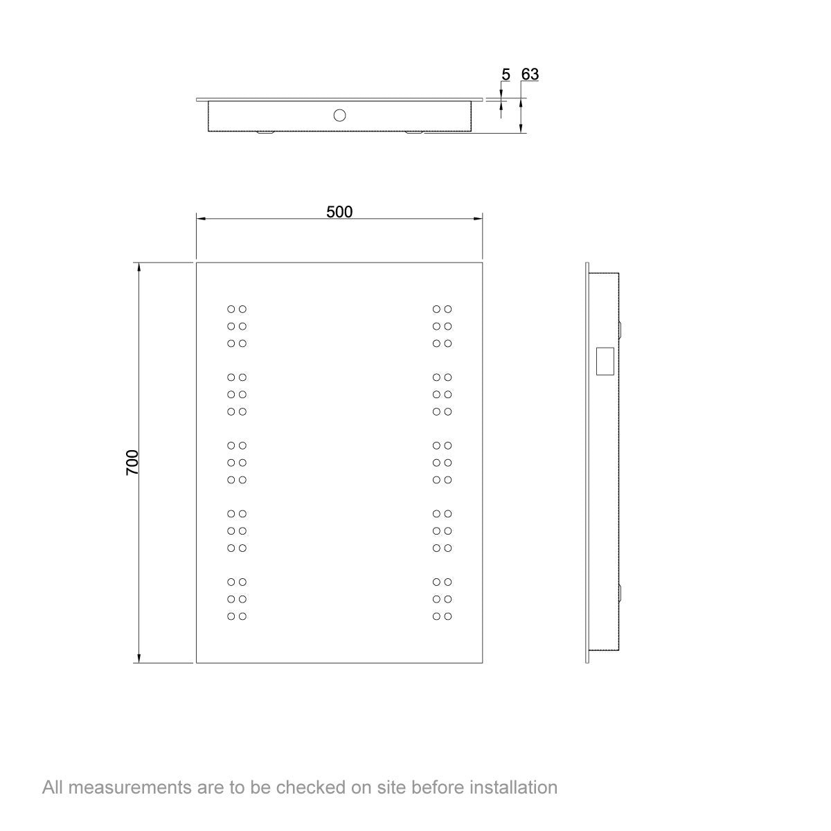 Dimensions for Mode Radiant rectangular LED mirror with demister