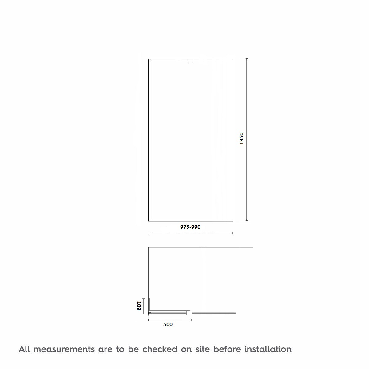 Dimensions for 1000mm