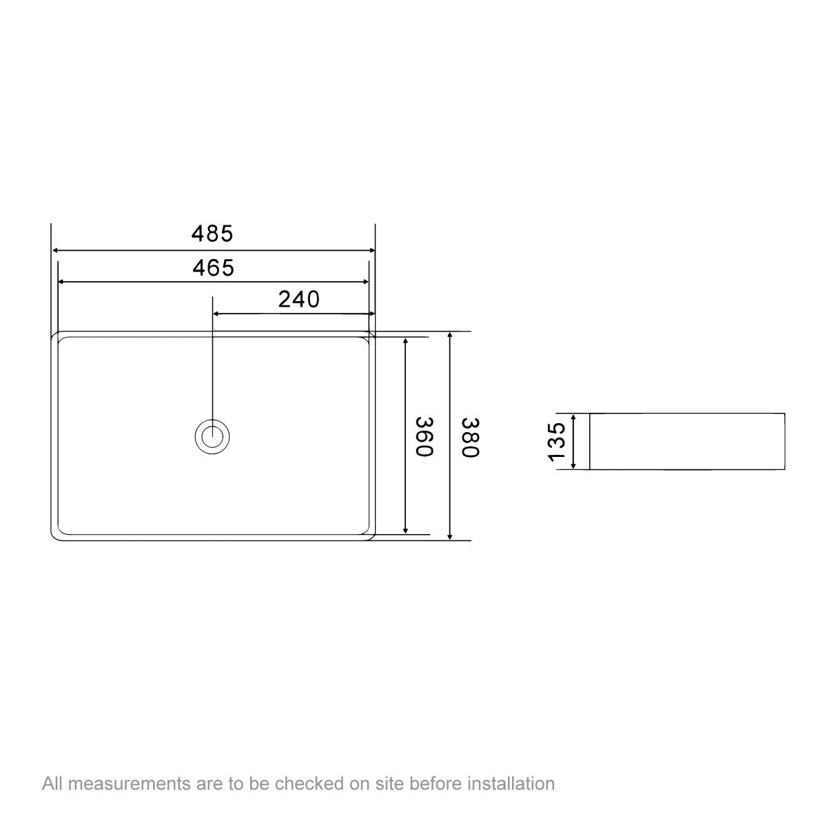 Dimensions for Mode Ellis counter top basin 485mm