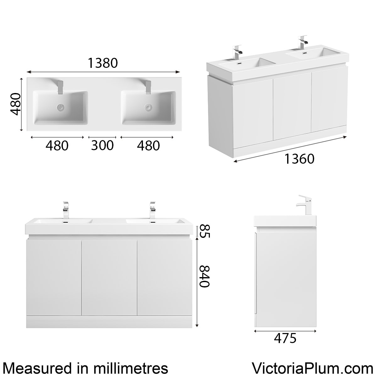 Dimensions for Mode Hardy white floorstanding vanity unit and basin 1380mm