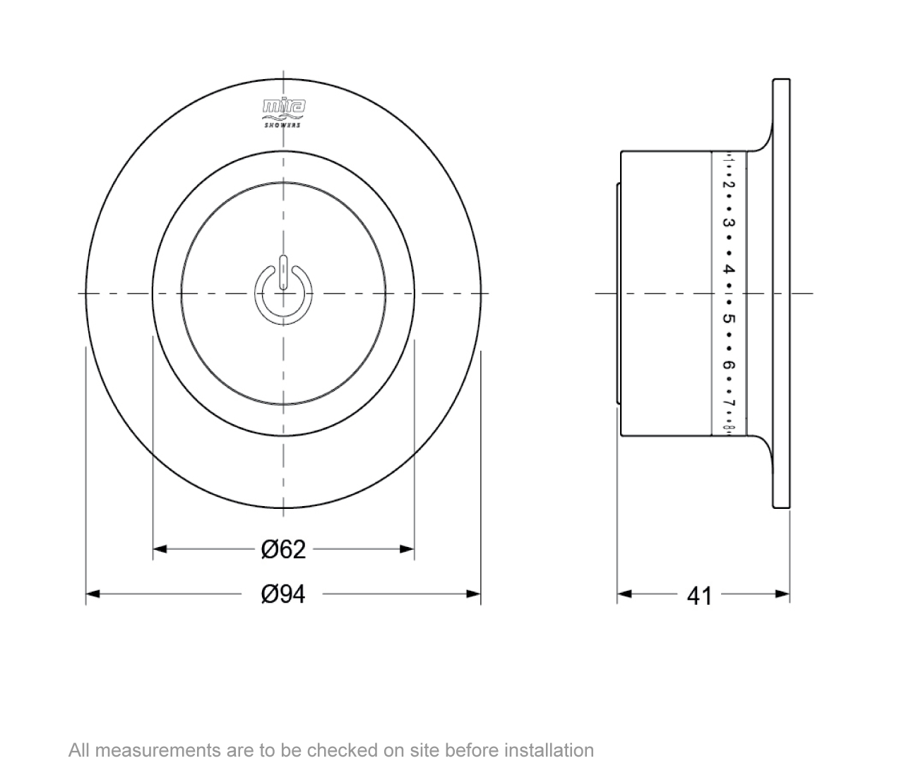 Dimensions for Mira Mode digital bath filler pumped