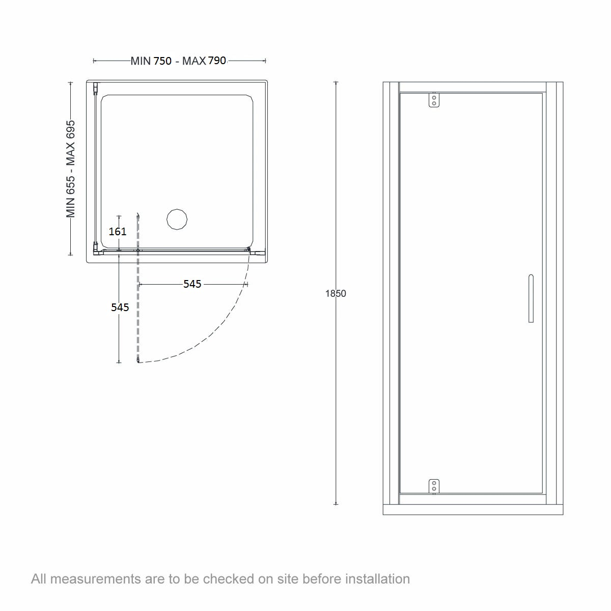 Dimensions for 800 x 700