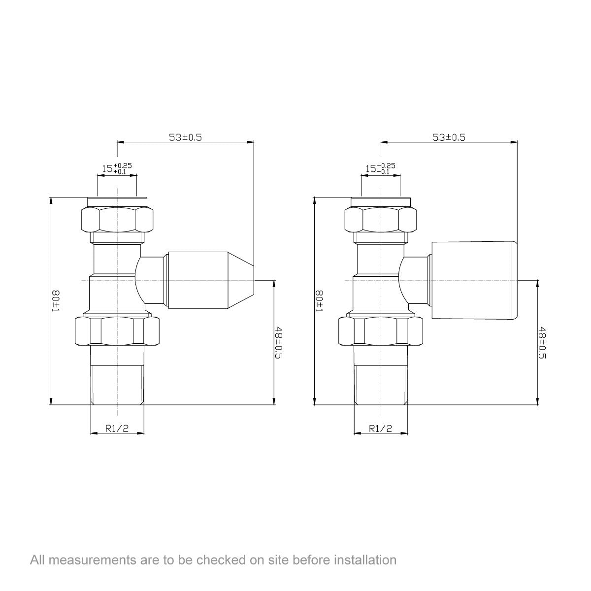 Dimensions for Clarity straight radiator valves