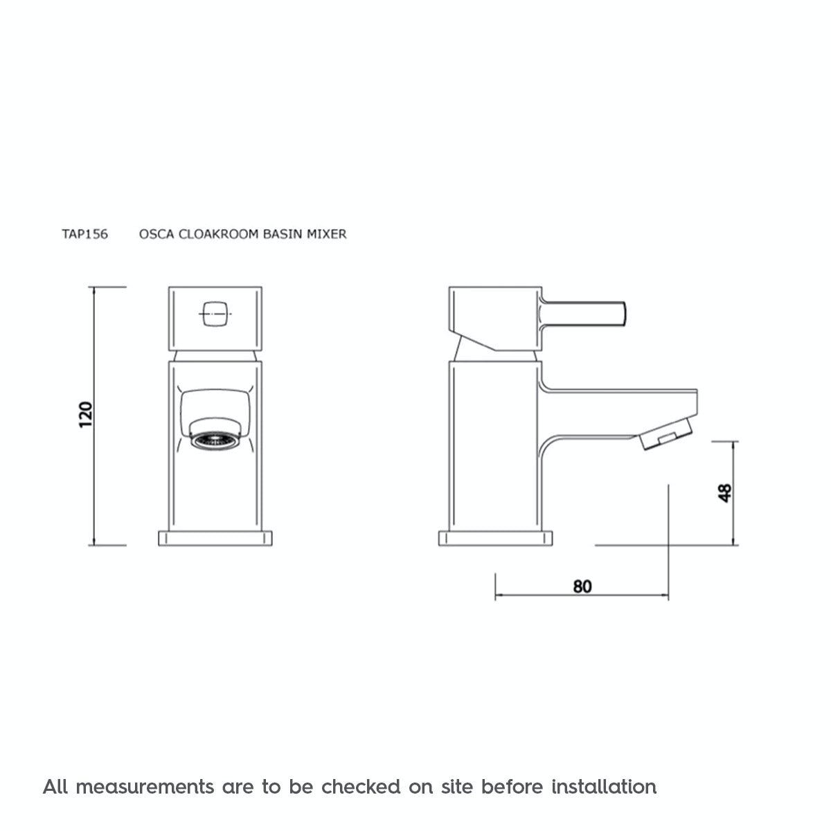 Dimensions for Orchard Derwent cloakroom basin mixer tap