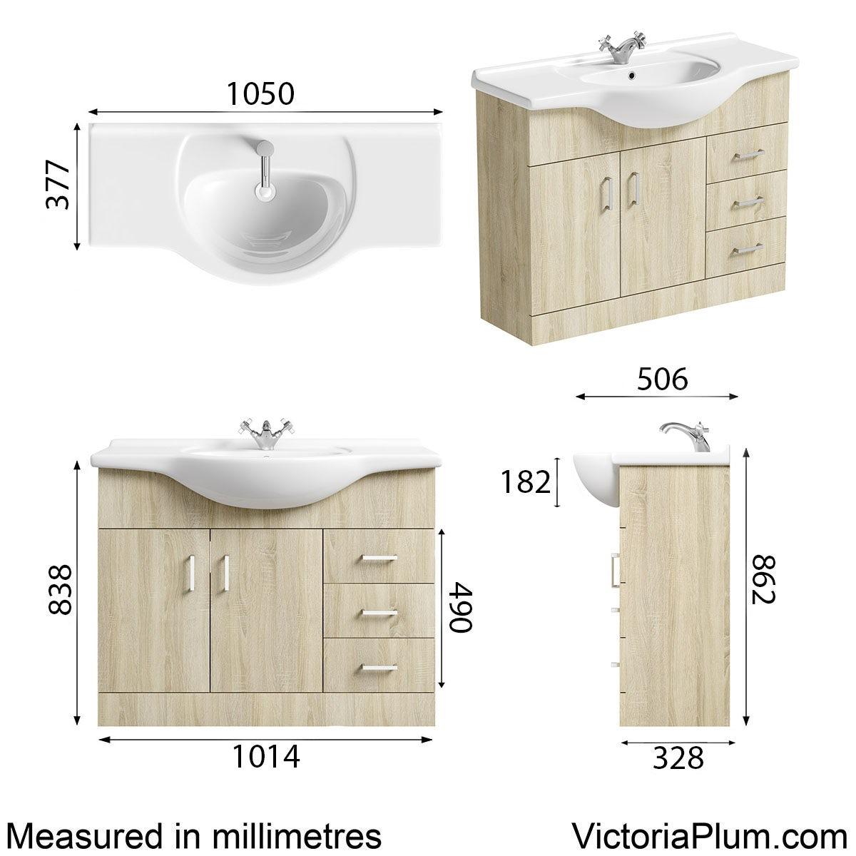 Dimensions for Orchard Eden oak vanity unit and basin 1050mm