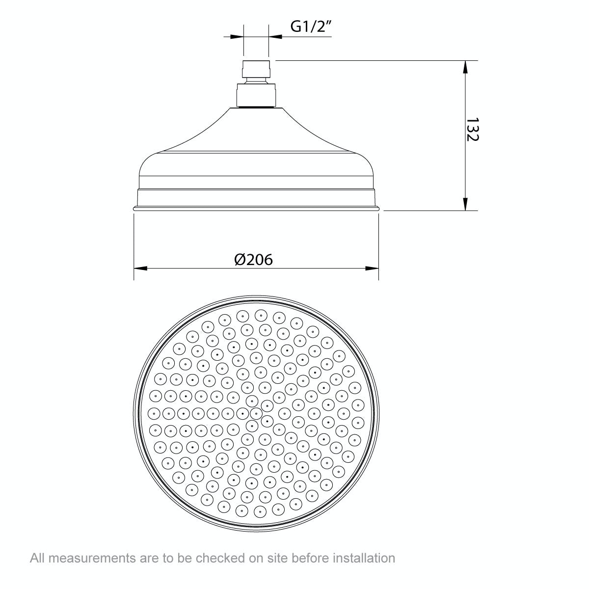 Dimensions for The Bath Co. Barrington traditional shower head 200mm
