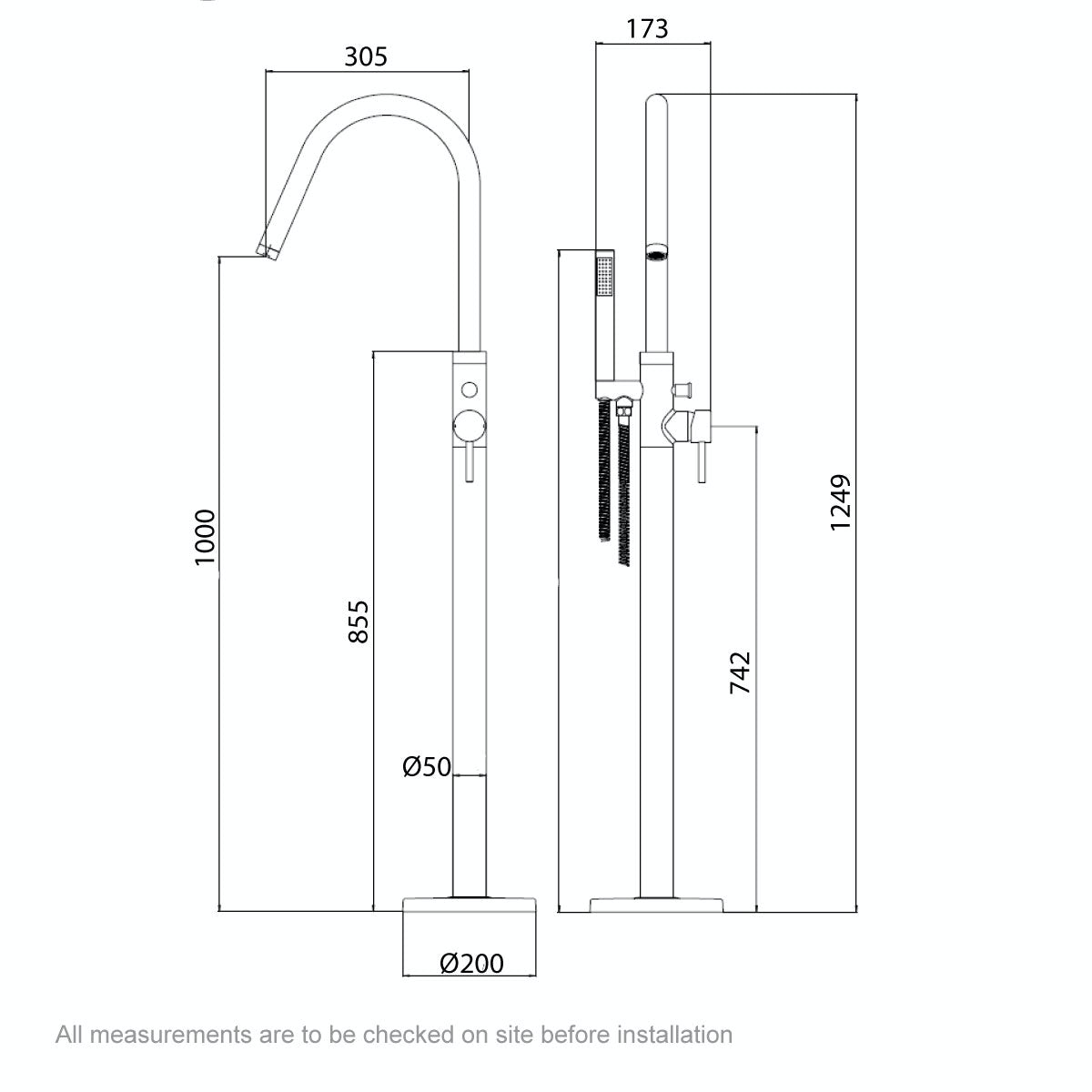 Dimensions for Mode Heath freestanding bath filler tap