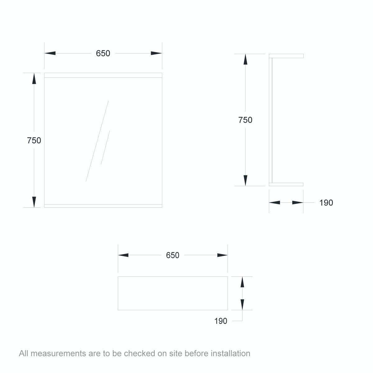 Dimensions for Orchard Florence white bathroom mirror 650mm