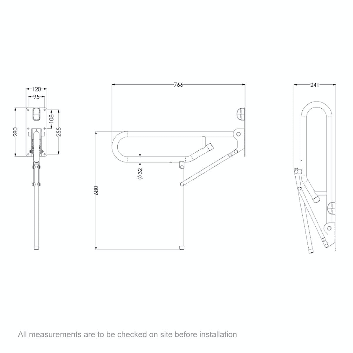 Dimensions for AKW Folding support grab rail with fixed leg white
