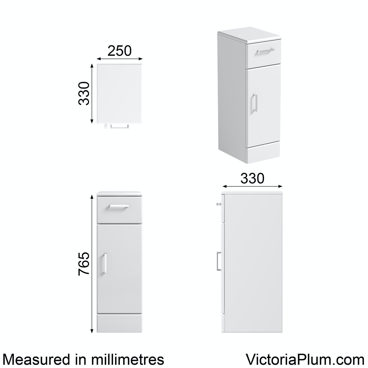 Dimensions for Orchard Eden white storage unit 330mm