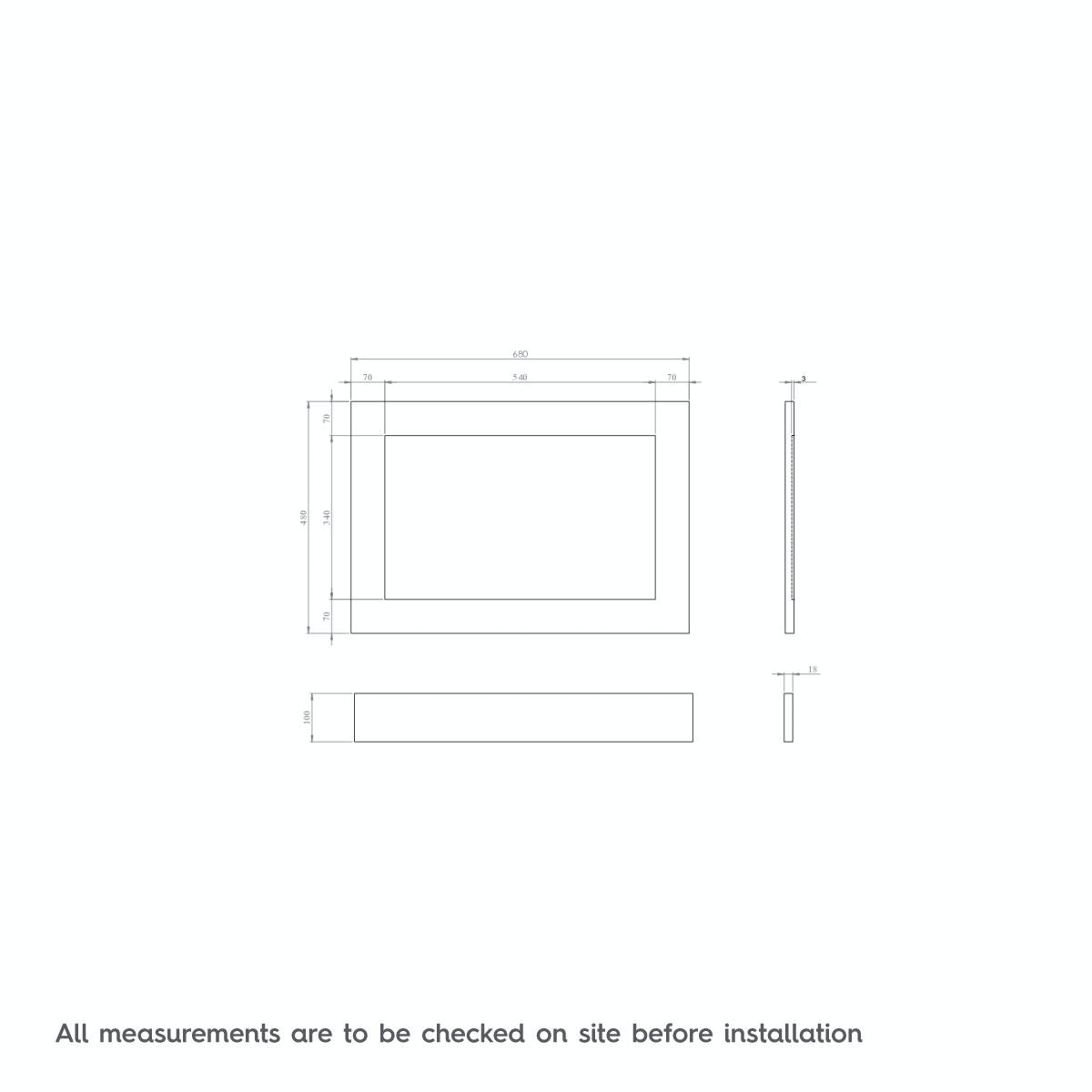 Dimensions for The Bath Co. Camberley white wooden straight bath end panel 700mm