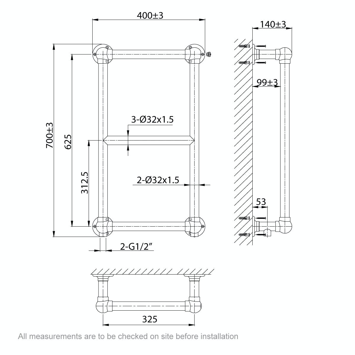 Dimensions for The Bath Co. Winchester wall mounted heated towel rail 700 x 400