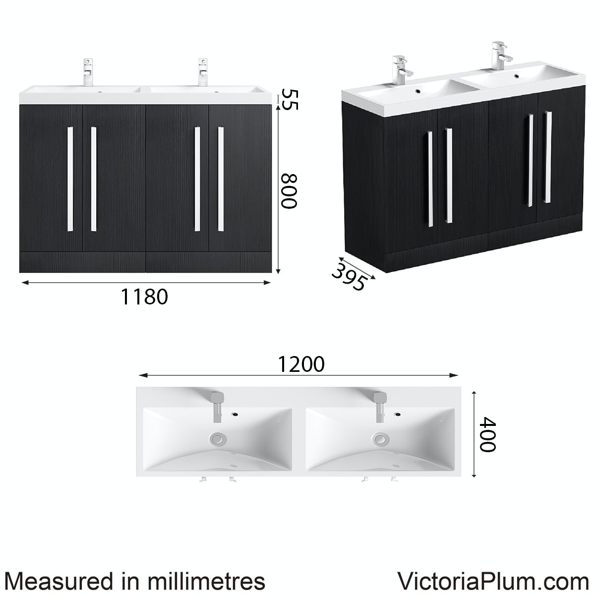 Dimensions for Orchard Wye essen double basin unit 1200mm