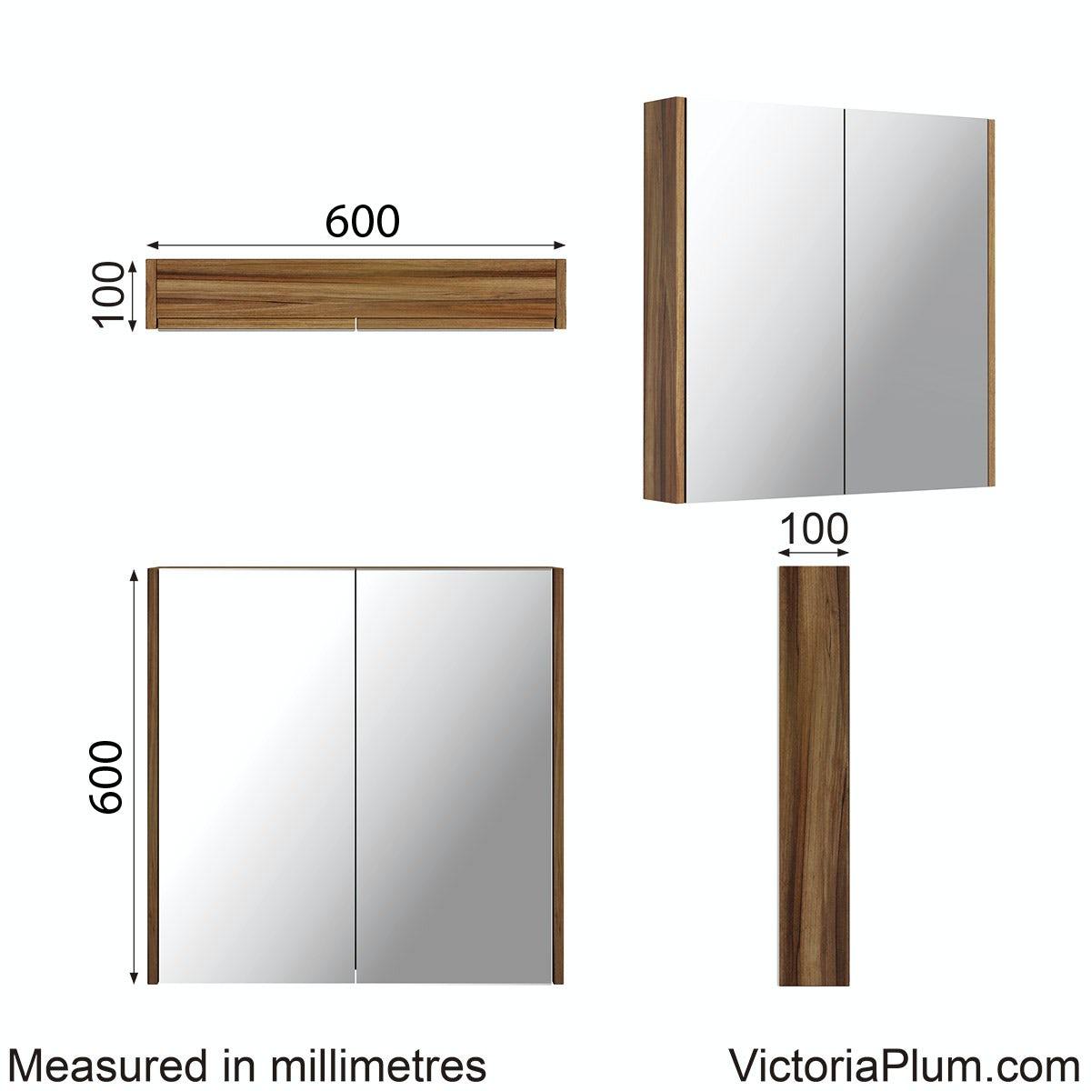 Dimensions for Clarity walnut 2 door bathroom mirror cabinet