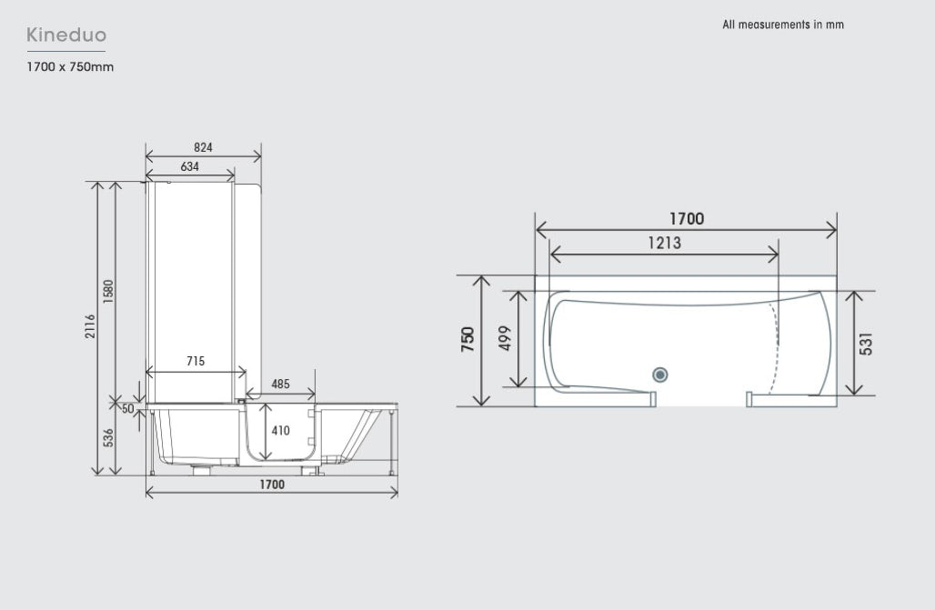Dimensions for Kineduo right handed shower bath with screen and white panel 1700 x 750