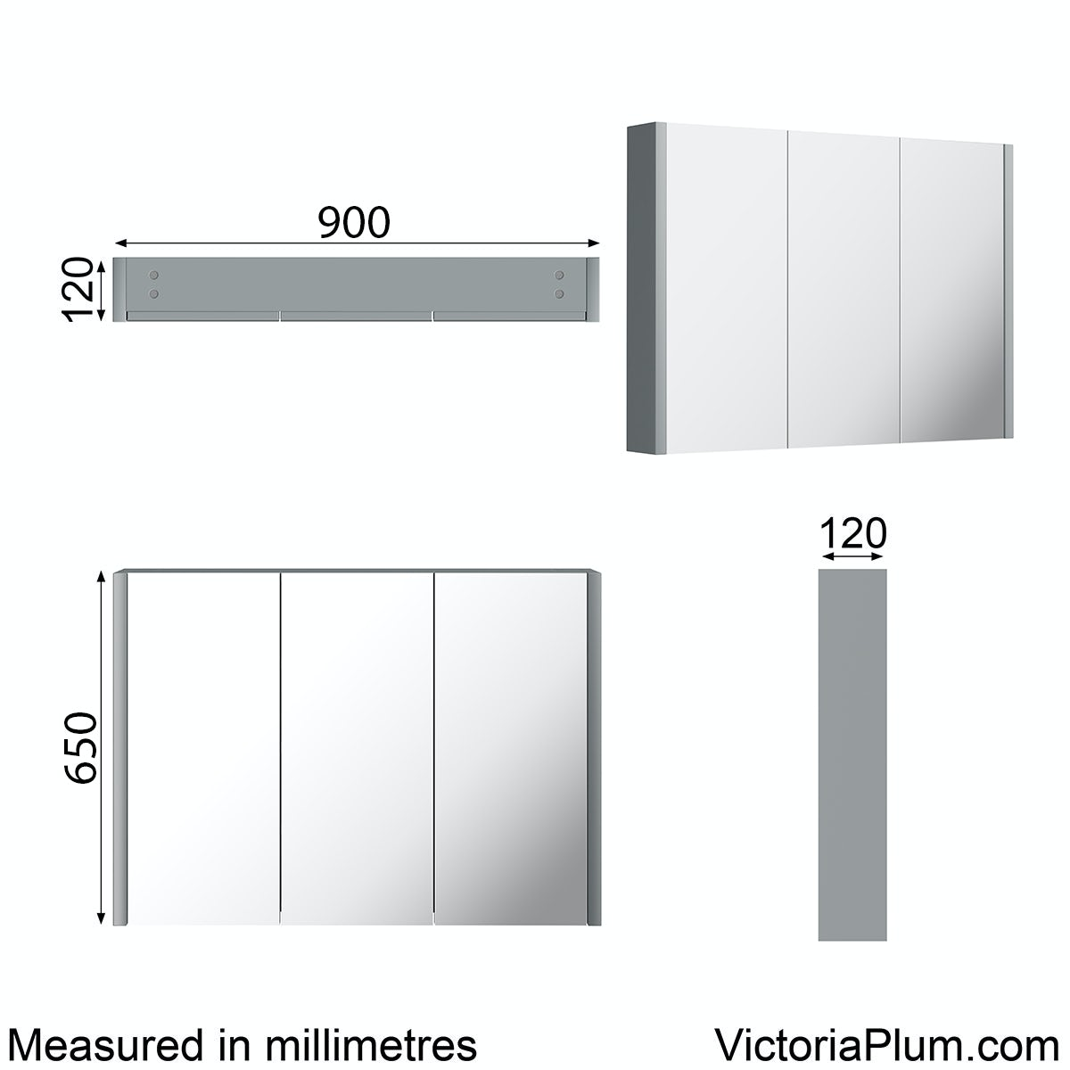 Dimensions for Orchard Derwent grey 3 door mirror cabinet