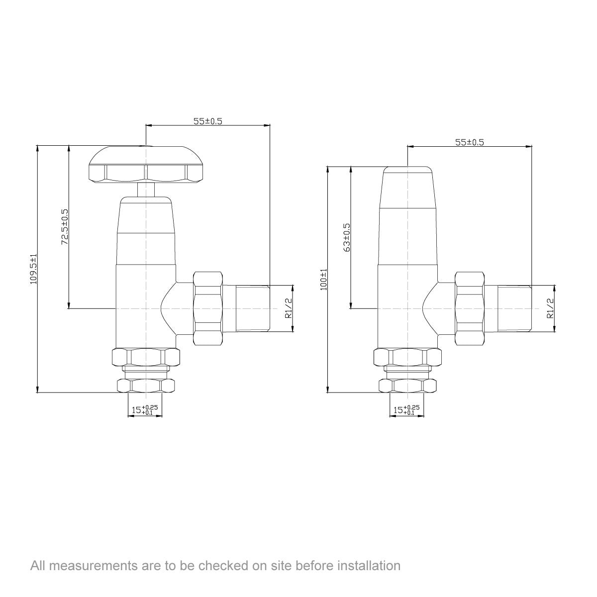 Dimensions for The Bath Co. Traditional angled radiator valves with black handle