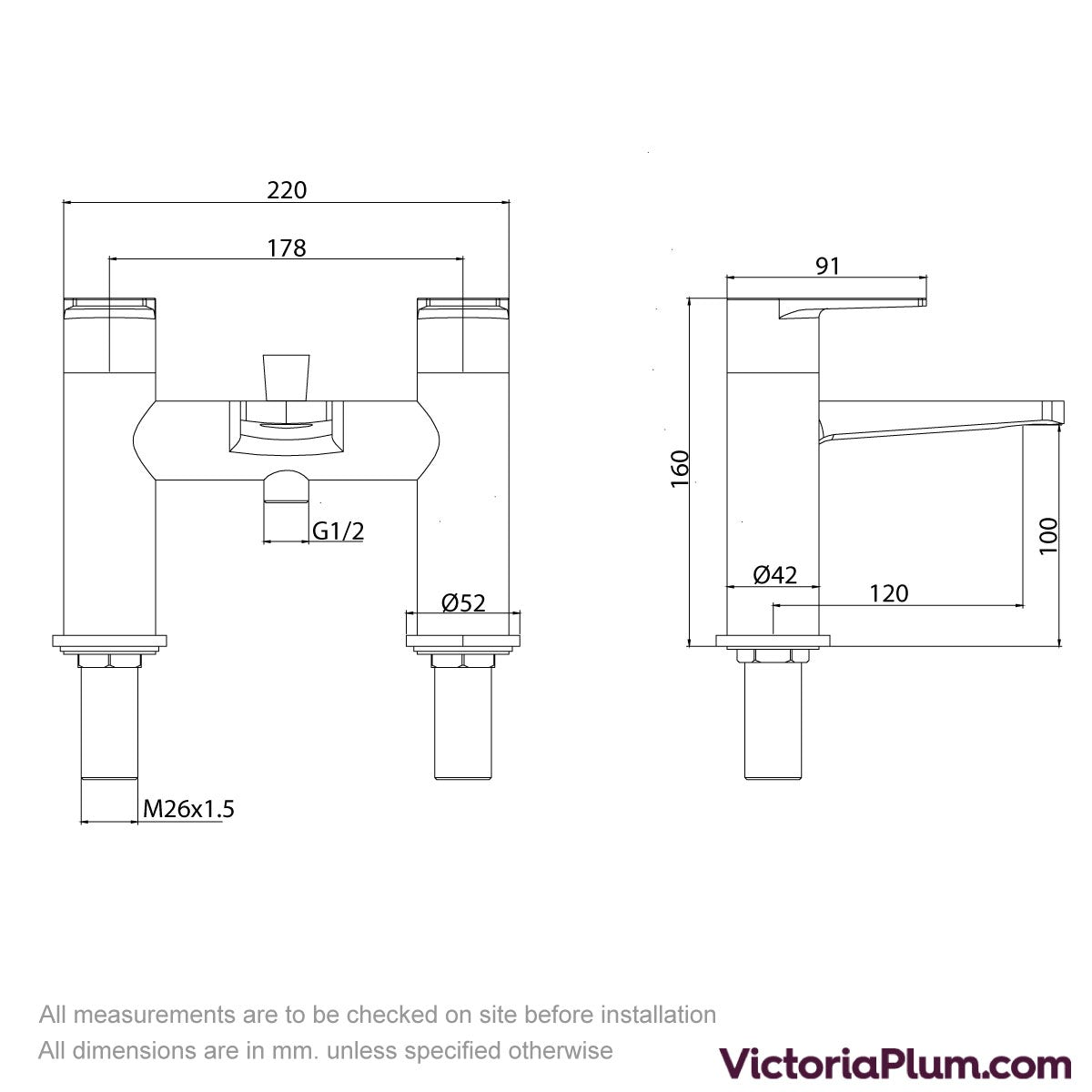 Dimensions for Kirke Combo bath shower mixer tap