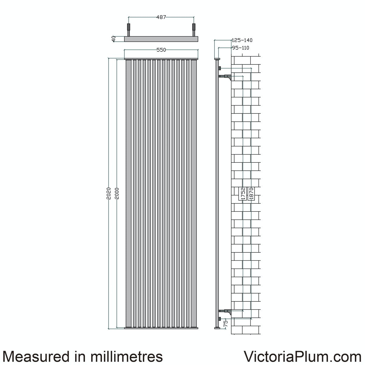Dimensions for Mode Imperial vertical radiator 2020 x 500