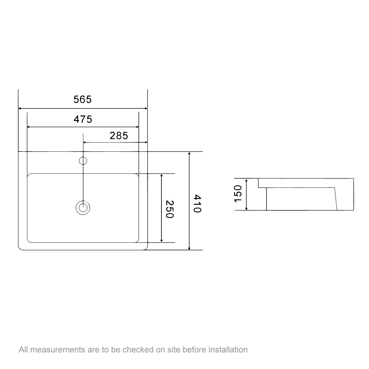 Dimensions for The Bath Co. Dulwich 1 tap hole semi recessed basin 565mm