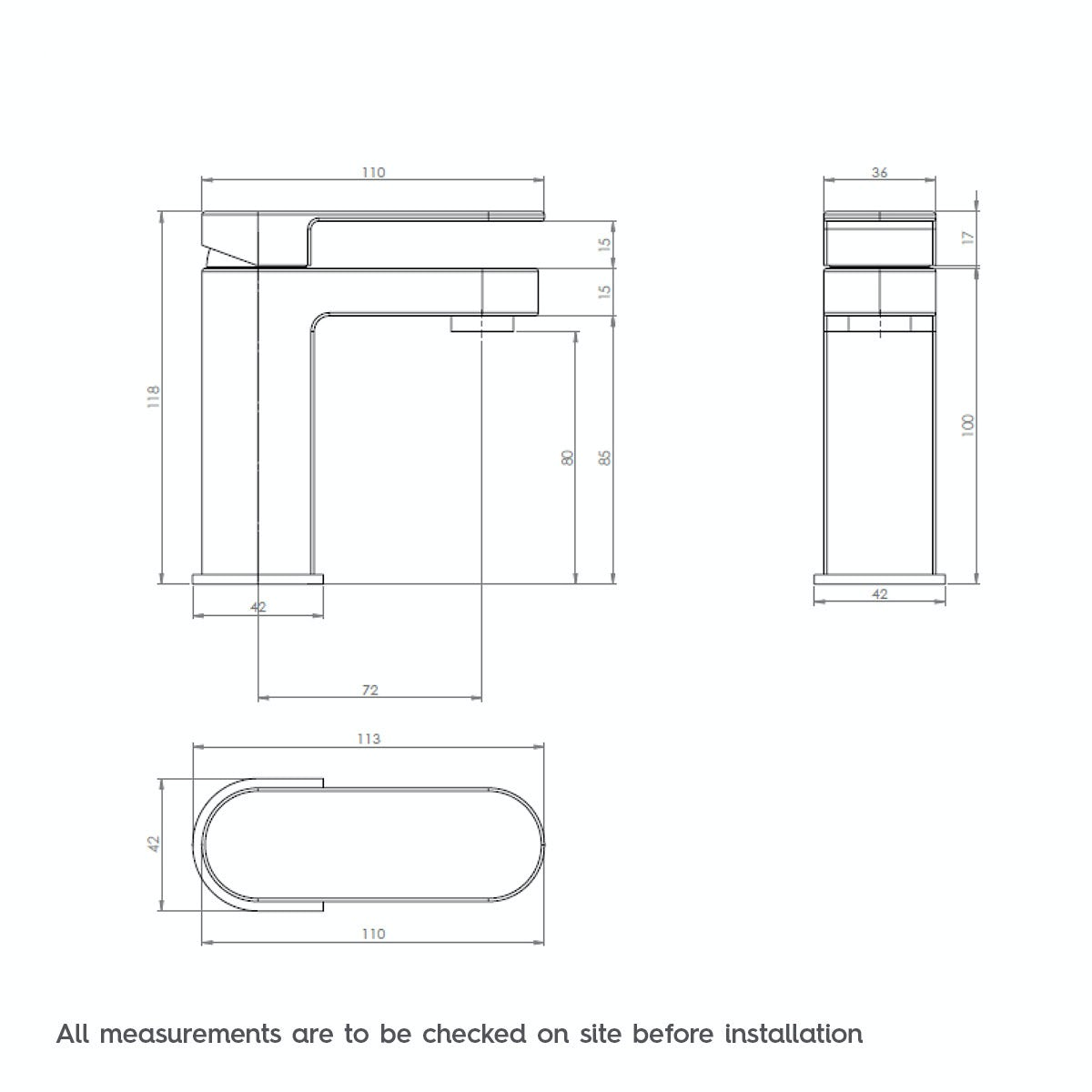 Dimensions for Mode Hardy cloakroom basin mixer tap