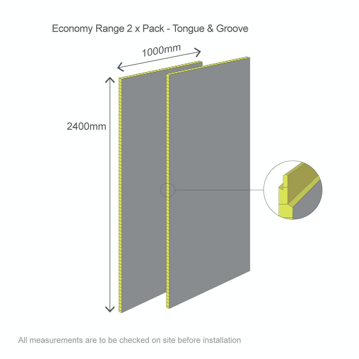 Dimensions for Multipanel Economy Sunlit Quartz shower wall 2 panel pack