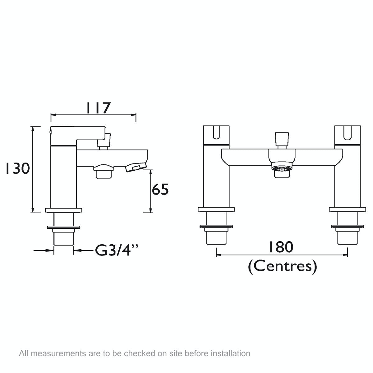 Dimensions for Bristan Clio bath shower mixer tap