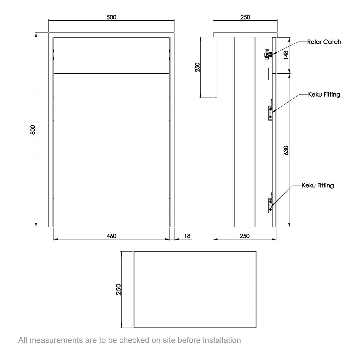 Dimensions for The Bath Co. Dulwich grey slimline back to wall toilet unit