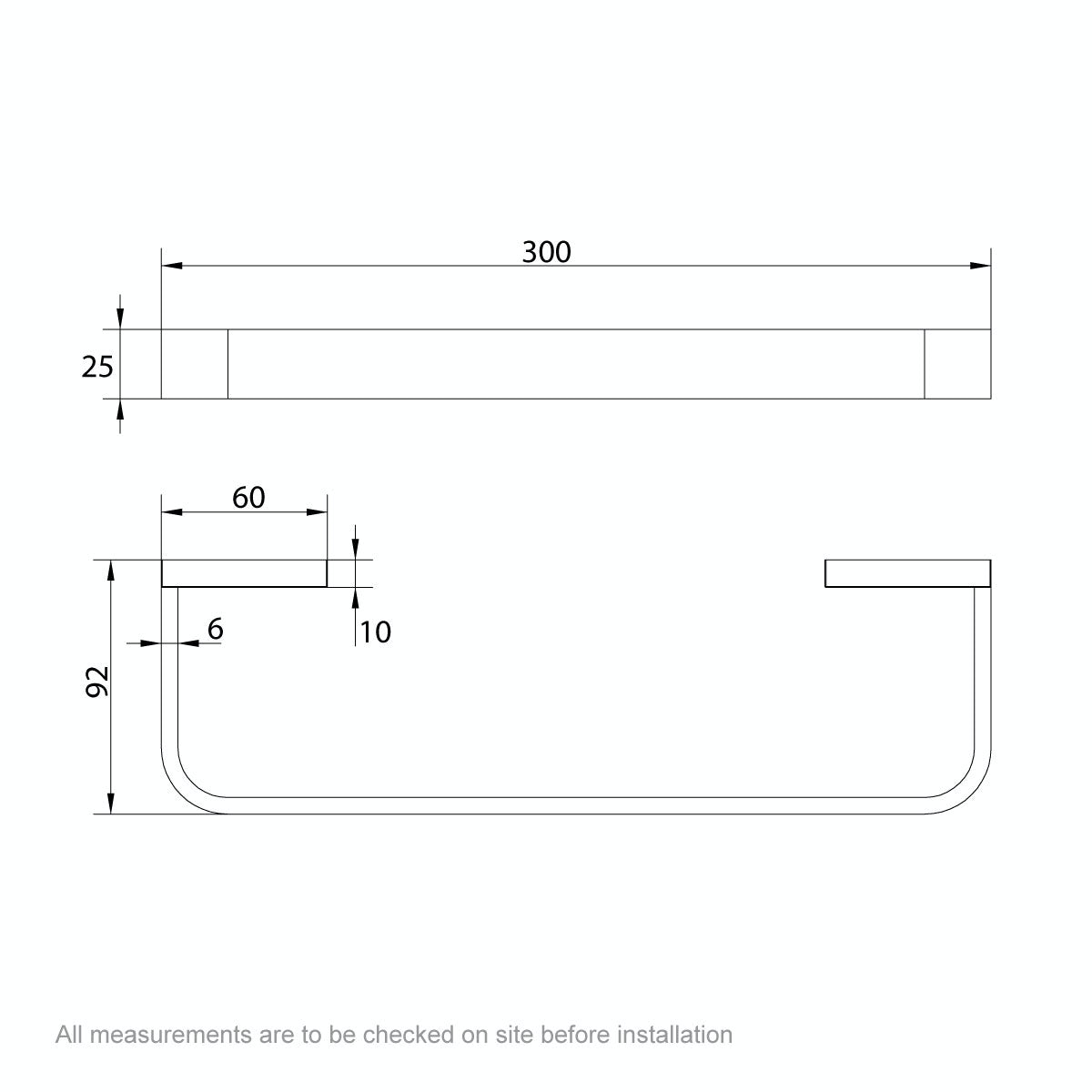 Dimensions for Mode Spencer gold towel rail