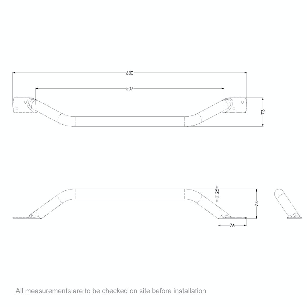 Dimensions for AKW Plastic coated steel cranked grab rail 630mm