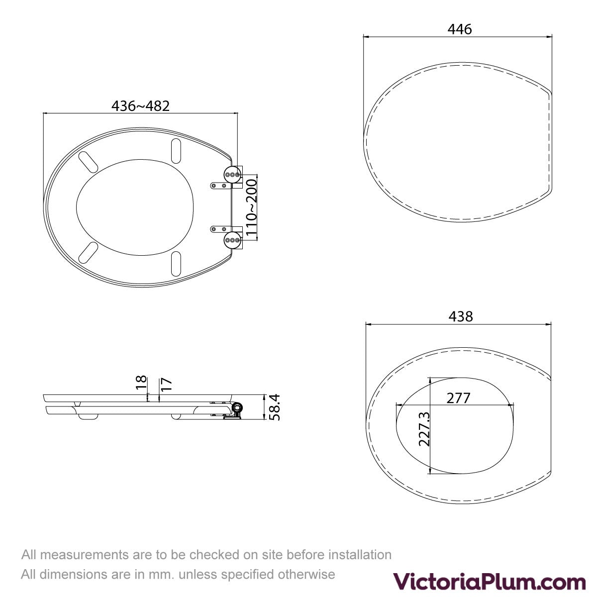 Dimensions for Blue shell acrylic toilet seat with soft close quick release hinge