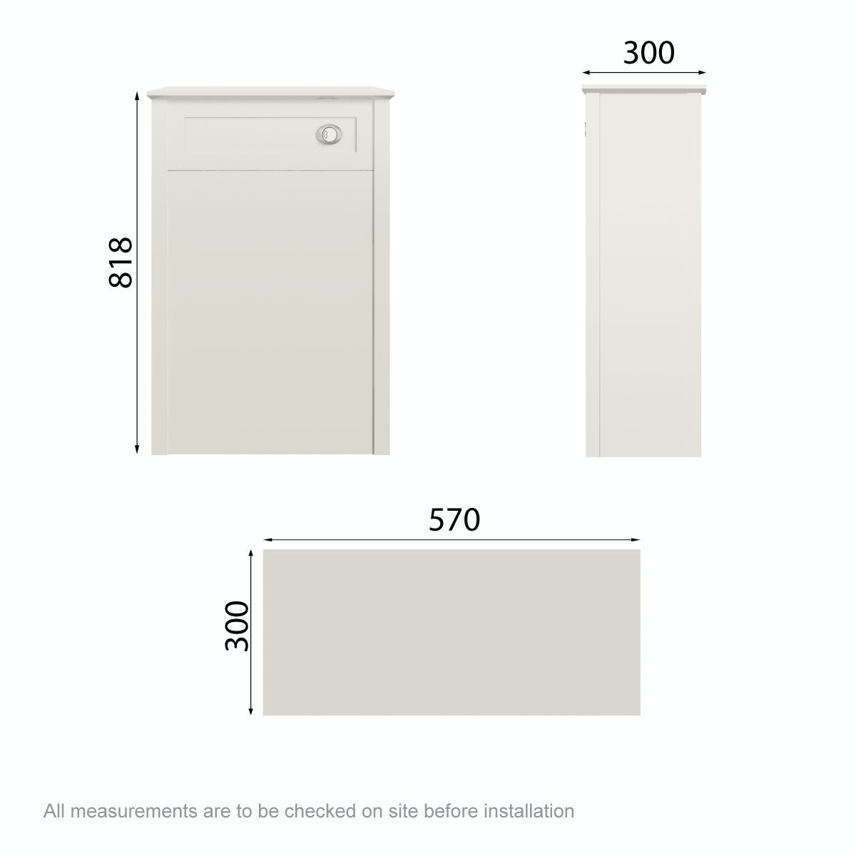 Dimensions for The Bath Co. Camberley satin ivory back to wall unit