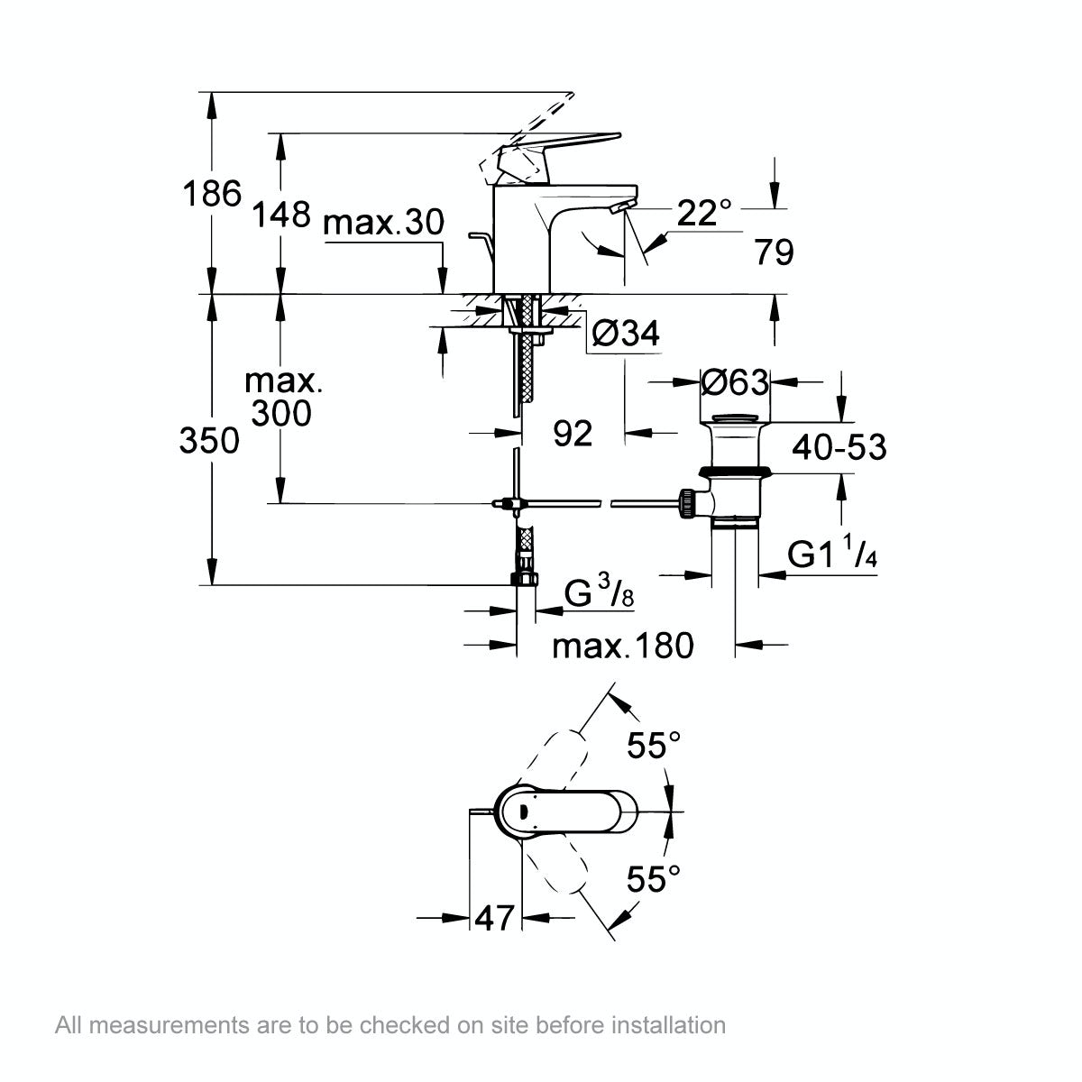 Dimensions for Grohe Eurosmart Cosmopolitan basin mixer tap with waste