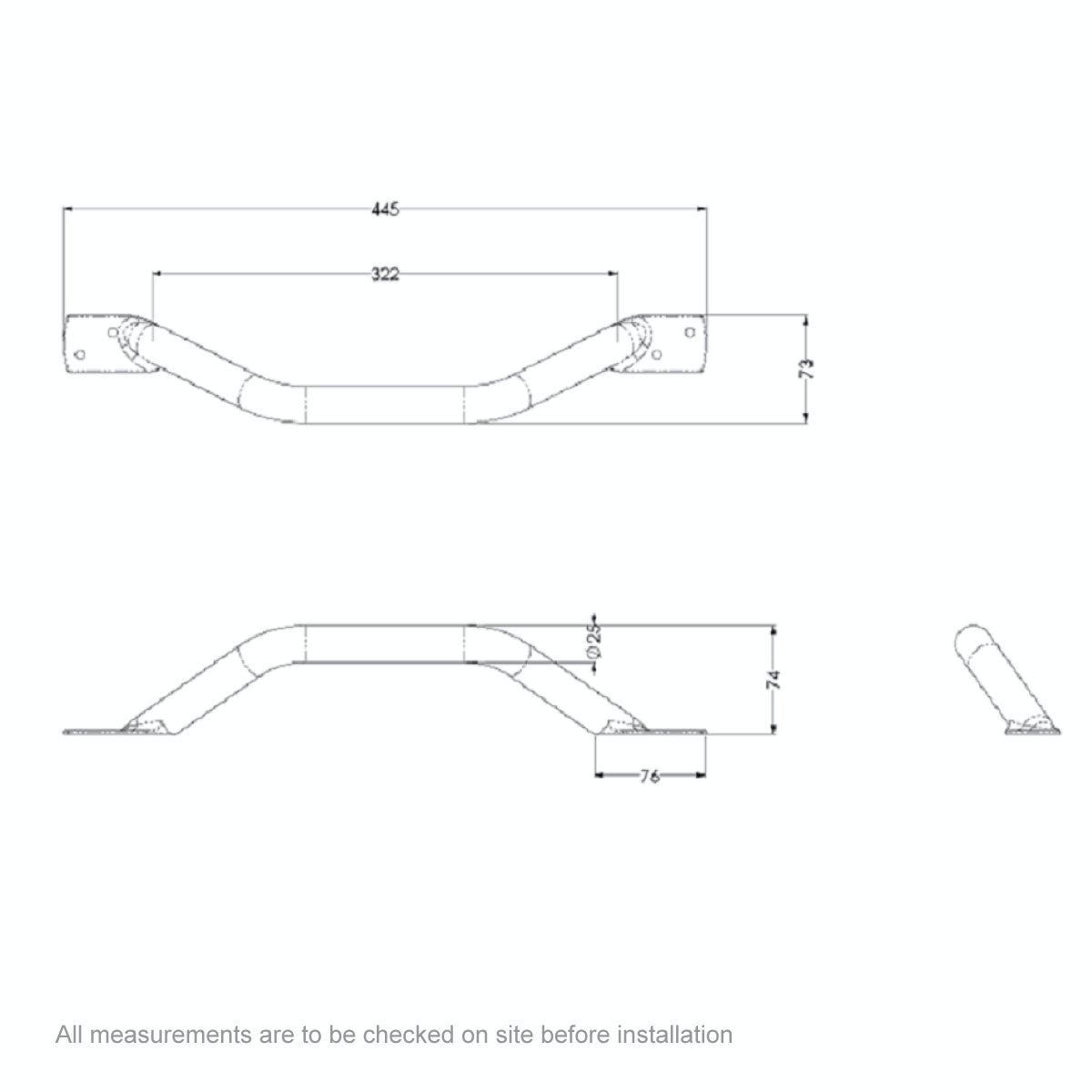 Dimensions for AKW Plastic coated steel cranked grab rail 445mm
