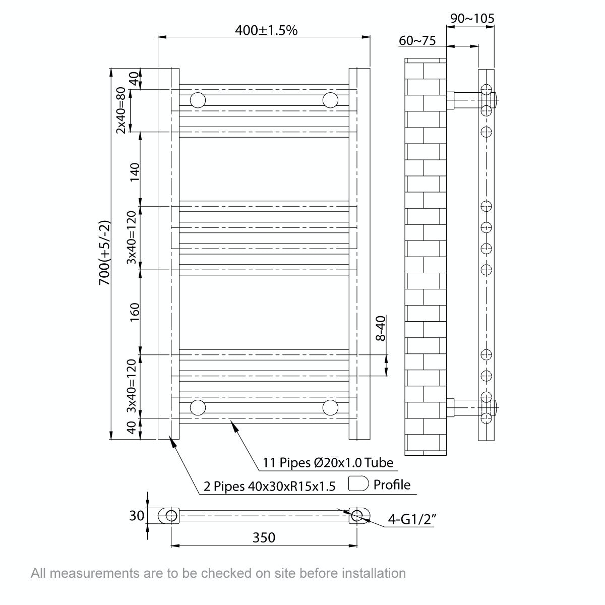 Dimensions for Orchard Eden round white heated towel rail 700 x 400