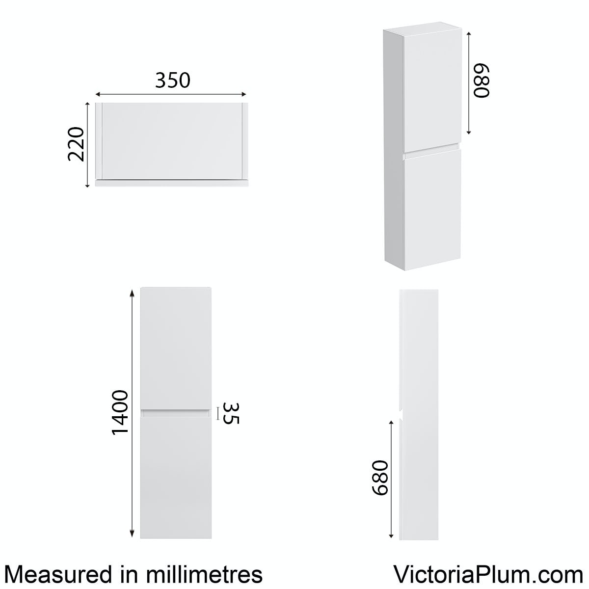 Dimensions for Mode Hardy white side wall storage