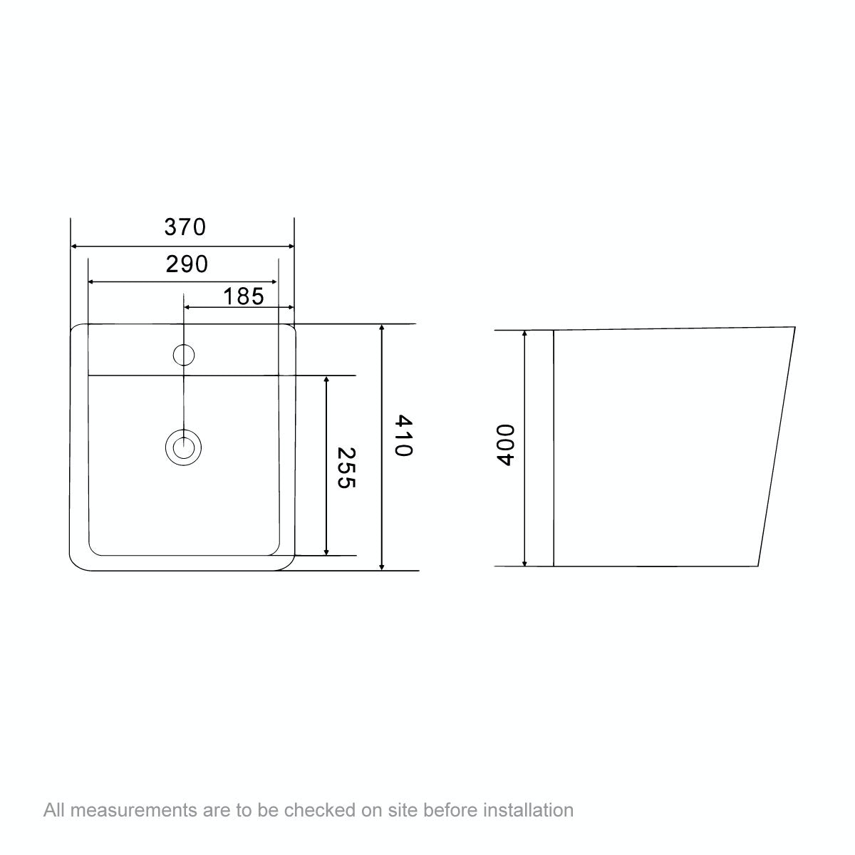 Dimensions for Orchard Montreal 1 tap hole wall hung basin 370mm