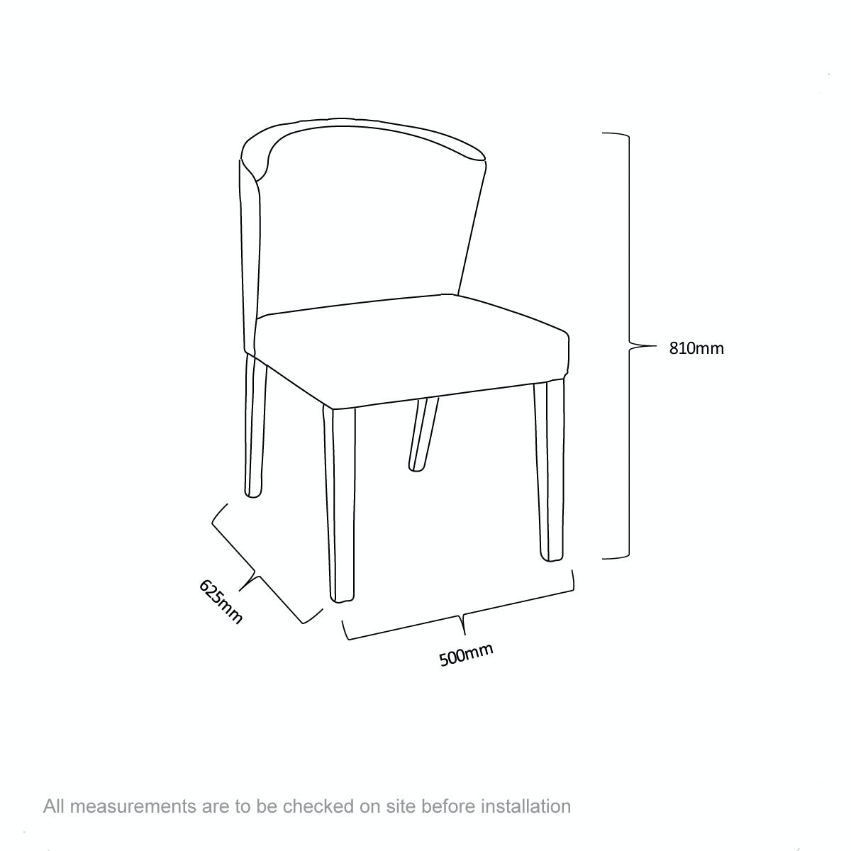 Dimensions for Hudson oak and light cyan pair of dining chairs