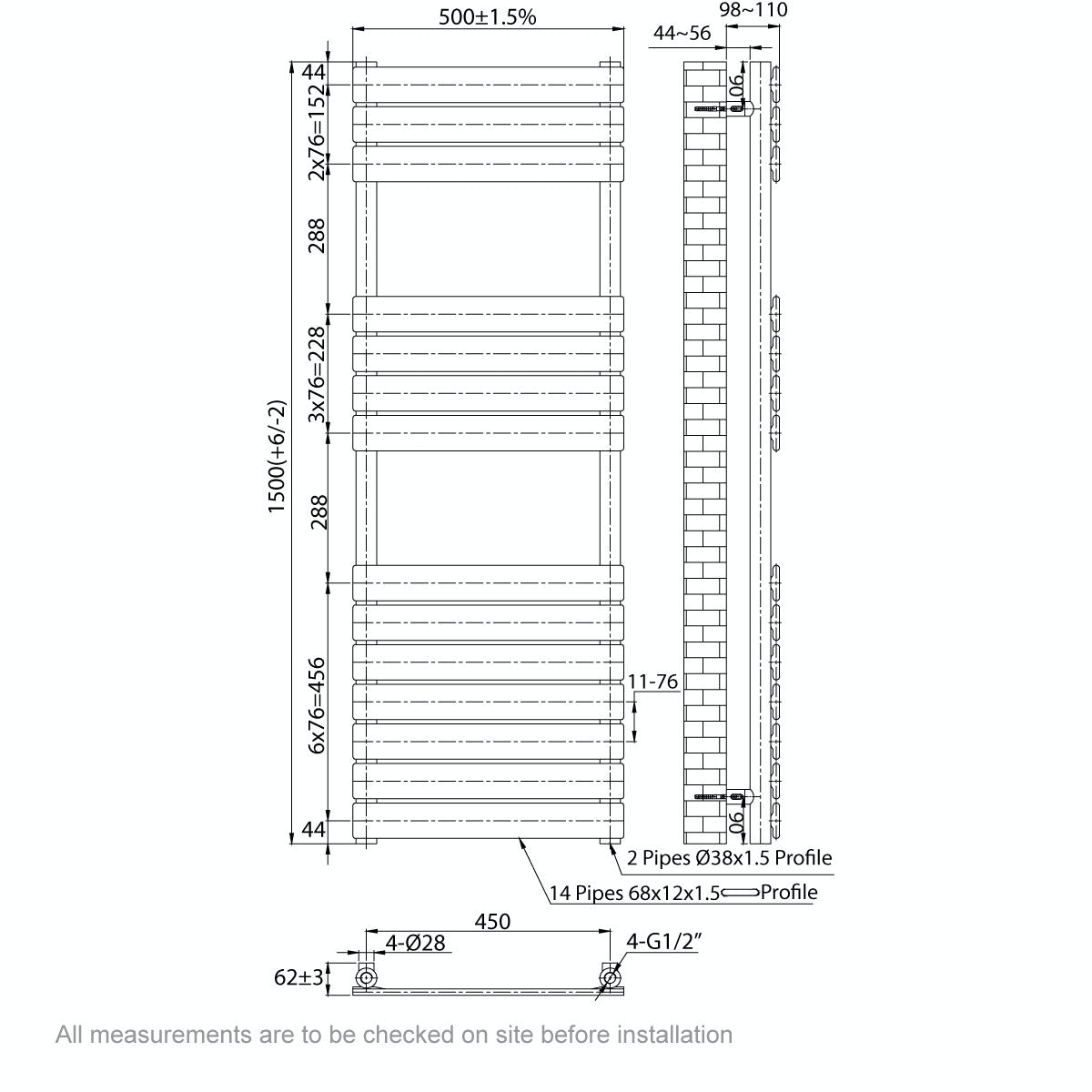 Dimensions for Orchard Signelle heated towel rail 1500 x 500