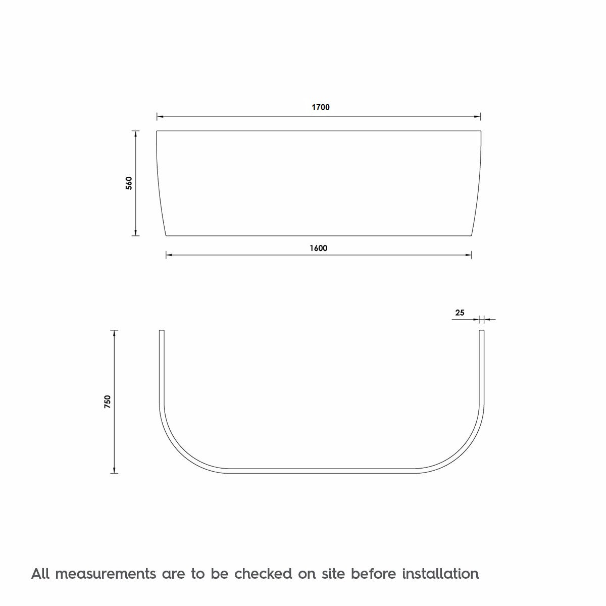 Dimensions for Orchard Elsdon D shaped double ended back to wall bath panel